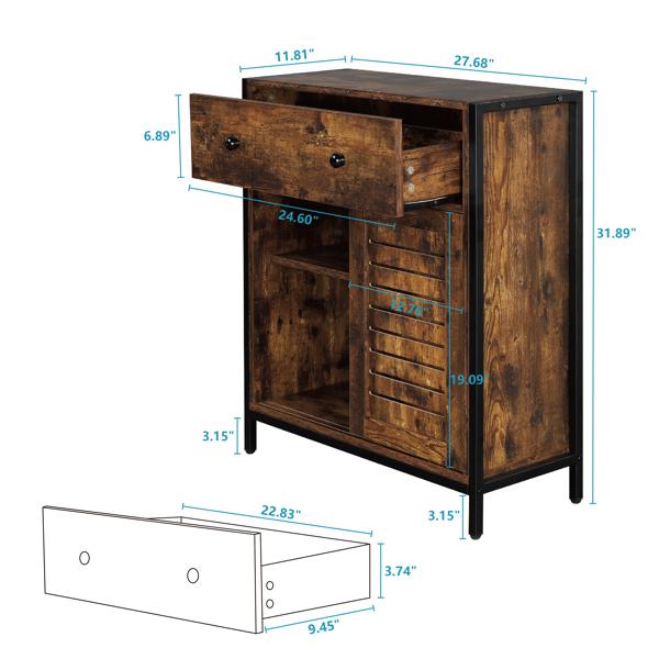 FCH 火烧云 密度板贴三胺 百页推拉门 一抽 钢木结构 浴室立柜 N001
