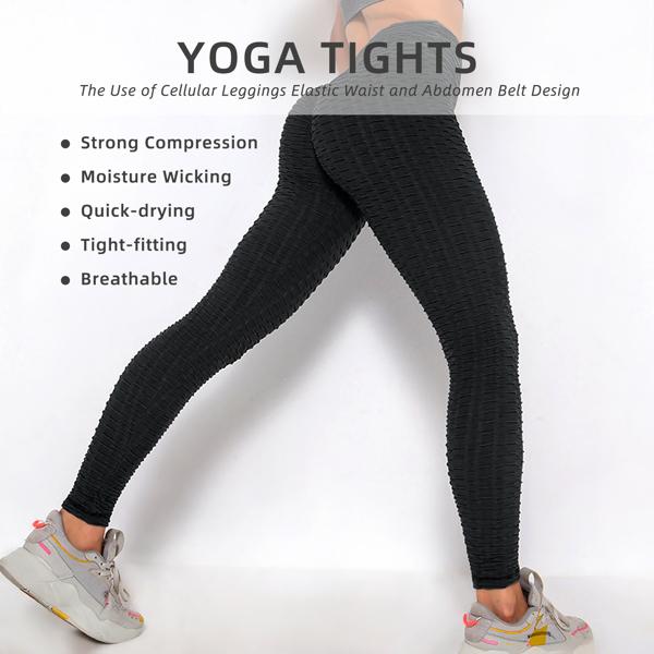 tiktok抖音女士紧身裤泡泡裤提臀运动锻炼高腰瑜伽裤黑色XX-Large