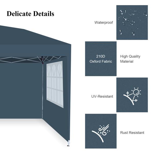 2x2M 弹出式速开凉棚 帐篷 210D 带防水涂层 带四块围布(两窗户+两门-双面拉锁)+ 收纳袋 蓝色