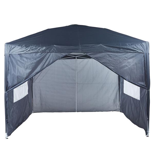 2x2M 弹出式速开凉棚 帐篷 210D 带防水涂层 带四块围布(两窗户+两门-双面拉锁)+ 收纳袋 灰色