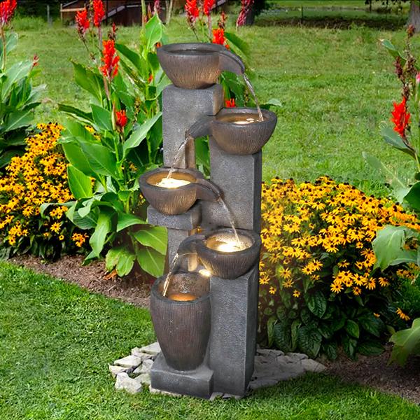 39英寸户外喷泉带 LED 灯,用于花园装饰(亚马逊禁售)