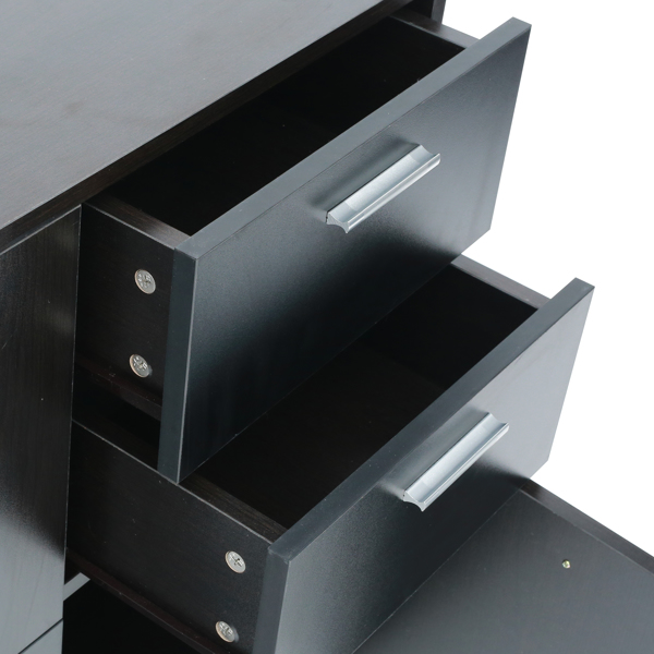 带 2 个抽屉和 3 个边柜的储物柜,30.3 英寸 L 浴室落地储物柜,橱柜,餐具柜,宽抽屉梳妆台,黑色
