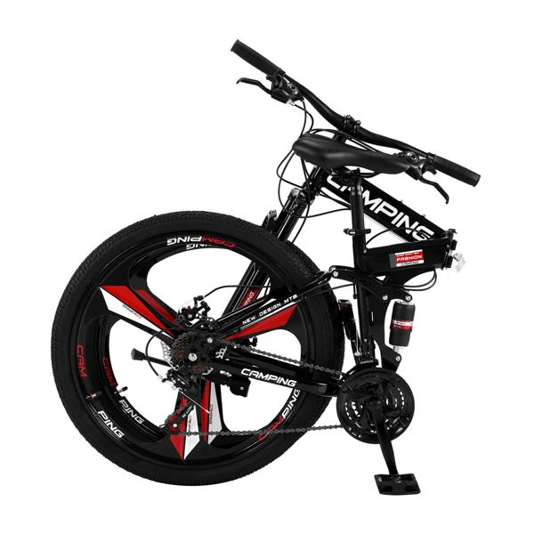 CamPingSurvivals 26in 黑色 山地自行车 三刀轮可折叠 高碳钢 100kg MBS003LH N001 21速 成人
