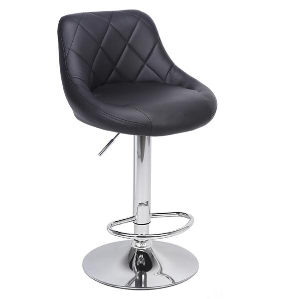 FCH 2pcs 圆坐垫一体方靠背菱形缝纫装饰 PU革 吧椅 圆弧形 黑色坐垫银色底盘 可旋转升降 N101