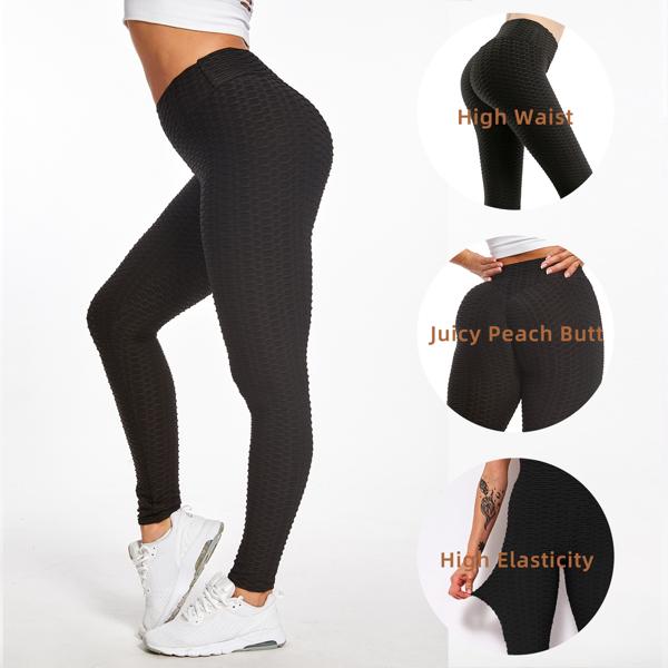 tiktok抖音女士紧身裤泡泡裤提臀运动锻炼高腰瑜伽裤黑色M码