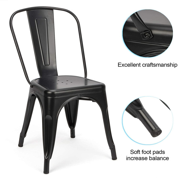 4pc 户外椅 办公椅 厨房金属椅 餐椅 可叠放椅(黑色)