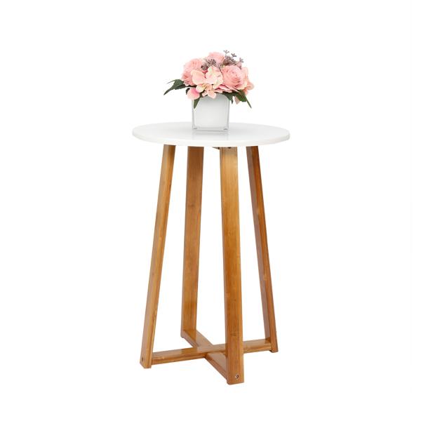 FCH 单层 楠竹 边桌 40*37*59.5cm 圆形 白色桌面 原木色桌腿 N101