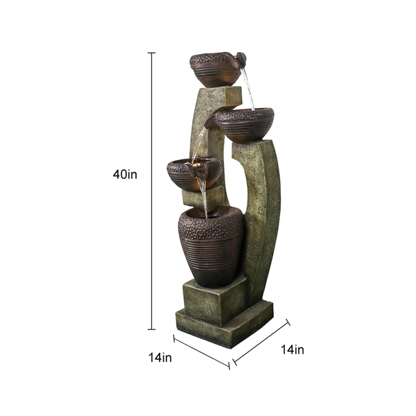 40英寸高现代户外喷泉 - 户外花园喷泉,花园、庭院装饰的现代设计(亚马逊禁售)