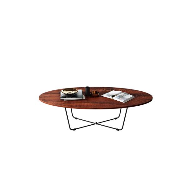 客厅简约设计椭圆形咖啡桌,檀香木,43英寸(亚马逊禁售)