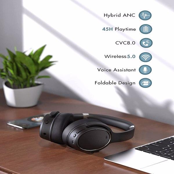 【亚马逊禁售】混合主动降噪无线蓝牙 5.0 耳机,带深低音的耳罩式耳机,具有 30 小时播放时间的记忆蛋白耳垫耳机