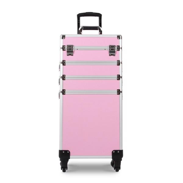四合一化妆箱 平纹 带4个轮子 铝制边框 粉色