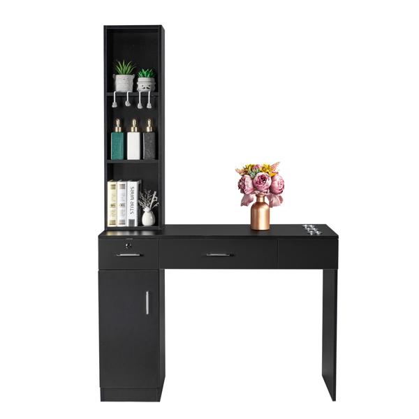 2-1 15厘E0刨花板麻面 1门2抽3层架带腿美发柜带锁 沙龙柜 N001 黑色
