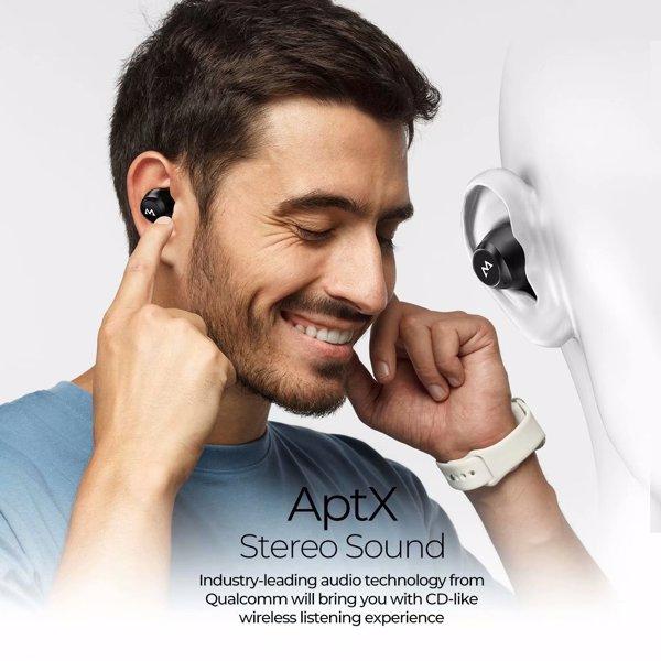 【亚马逊禁售】无线耳塞,M20 无线耳机 106 小时播放时间,蓝牙耳塞 aptX Bass+ 响亮声音,BT5.0 IPX7 防水蓝牙耳机,带充电盒,CVC 8.0 降噪麦克风,黑色