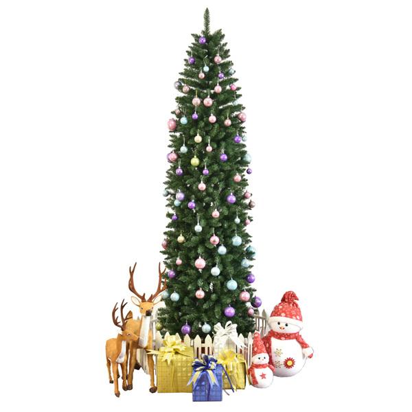 FCH 8ft 尖头笔杆绑树 嫩绿 圣诞树 PVC树枝铁支架 N101 英国