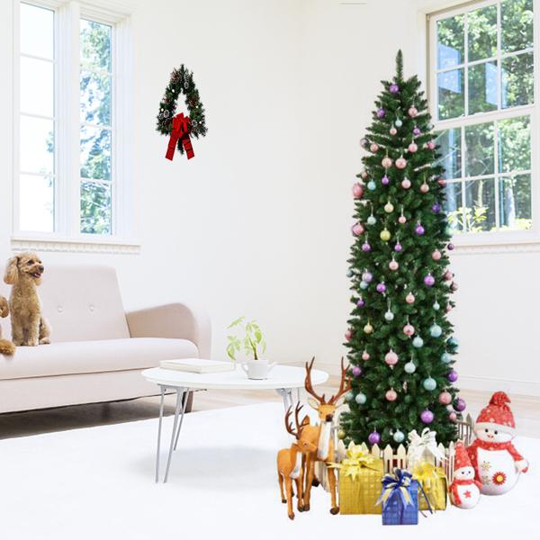 FCH 7.5ft 尖头笔杆 嫩绿 圣诞树 PVC树枝铁支架 N101 英国