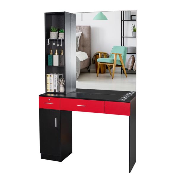 2-1 15厘E0刨花板麻面 1门2抽3层架带腿美发柜带锁带镜子 沙龙柜 N001 黑红色
