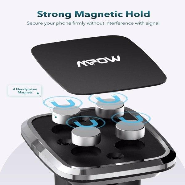 【亚马逊禁售】车载手机支架,仪表板磁性手机支架,带强力吸盘,长鹅颈式车载支架兼容 iPhone 12 11 Pro Max/XS Max/XR/XS/X/8/7/6 Plus 等