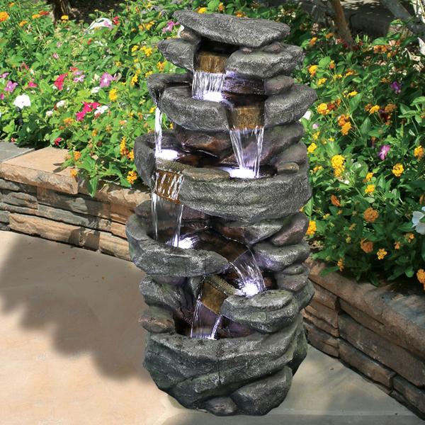 40.5英寸高岩户外喷泉带 LED 灯(亚马逊禁售)