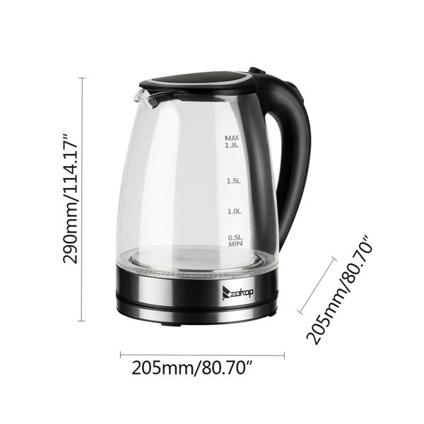 ZOKOP 欧规 HD-1857-A 1.8L 电水壶 220V 2200W 玻璃