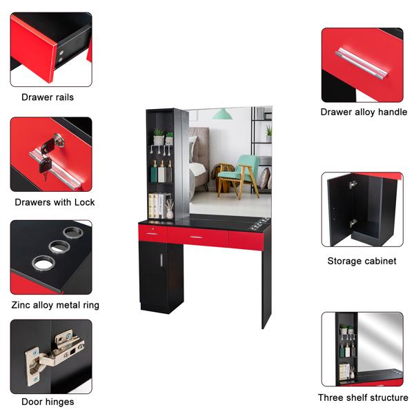 15厘E0刨花板麻面 1门2抽3层架带腿美发柜带锁带镜子 沙龙柜 N001 黑红色
