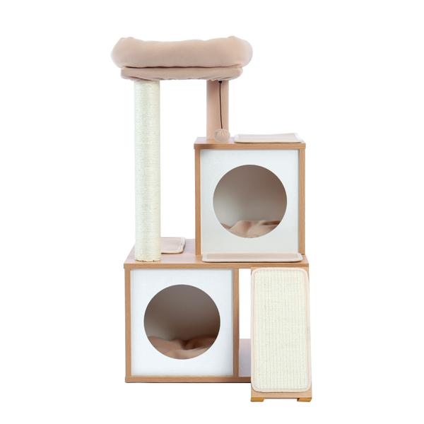 米色木制多层猫台带有2个豪华猫窝,宽敞的躺窝,剑麻抓柱,坡道,猫互动玩具晃球