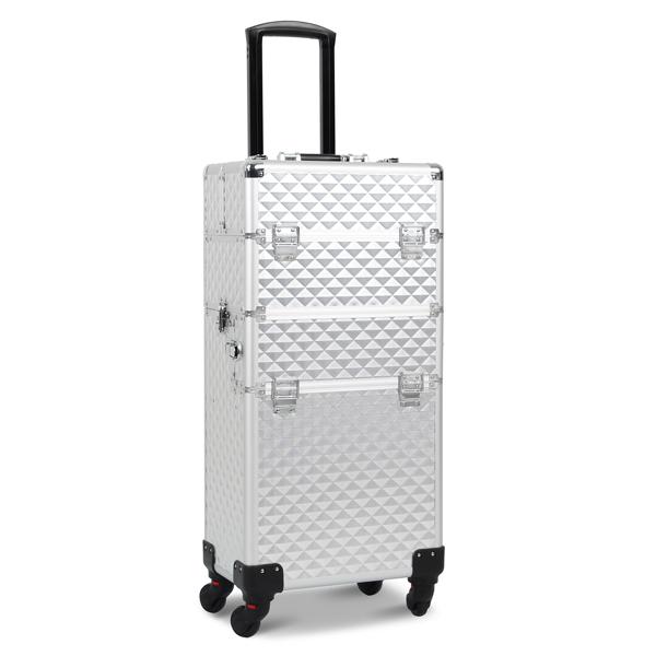 三合一化妆箱 菱形纹 带4个轮子 铝制边框 银色