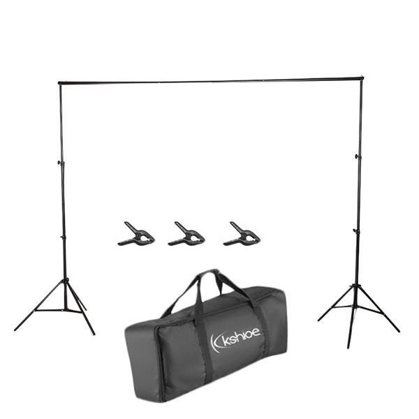 Kshioe S-19 2*2m可折叠背景架带3个鱼嘴夹 铁质 黑色 摄影支架