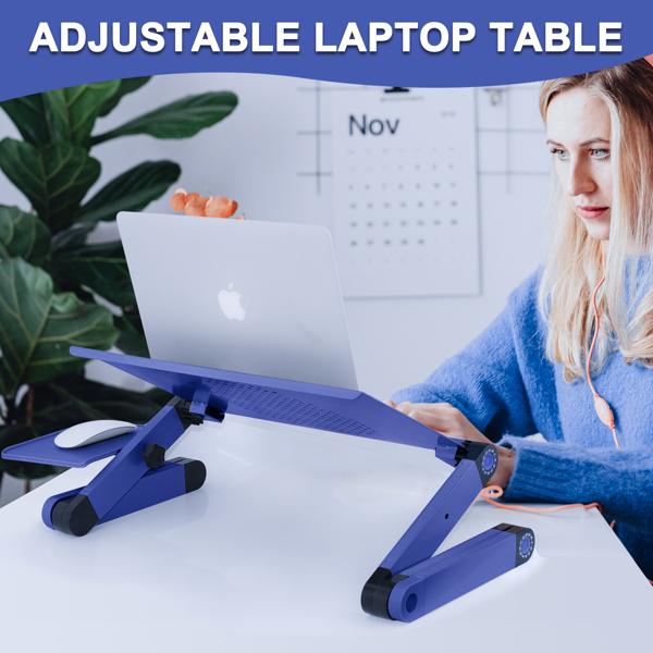 铝合金折叠笔记本电脑桌支架床上桌蓝色