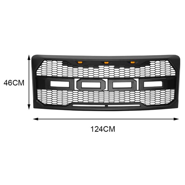 福特哑黑中网For 09-14 Ford F150 Raptor Style Front Bumper Mesh Grille Matte Black w/LED Lights & Letters