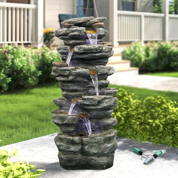 40英寸高岩石户外瀑布带 LED 灯,家庭花园舒缓宁静,庭院装饰(亚马逊禁售)