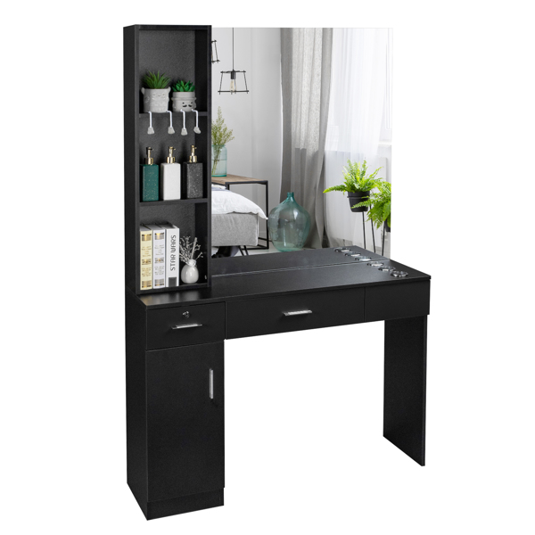 15厘E0刨花板麻面 1门2抽3层架带腿美发柜带锁带镜子 沙龙柜 N001 黑色