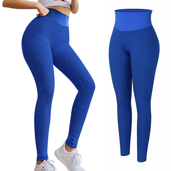 tiktok抖音女士紧身裤提臀高腰瑜伽运动裤蓝色XL码