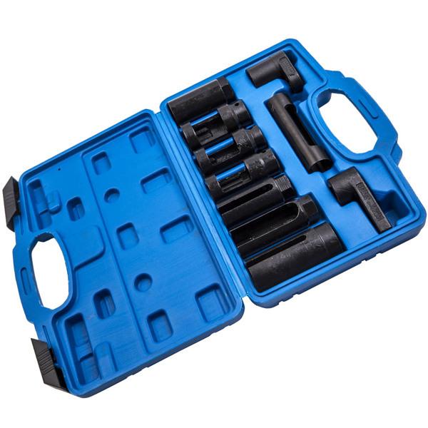 """氧传感器拆卸工具包10Pcs Oxygen Sensor Socket Ratchet Oil Pressure Sending Units Removal Pull Tool Kit 1/2'',  3/8"""""""