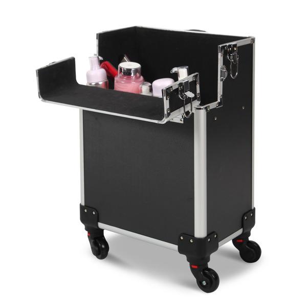 三合一化妆箱 平纹 带4个轮子 铝制边框 黑色