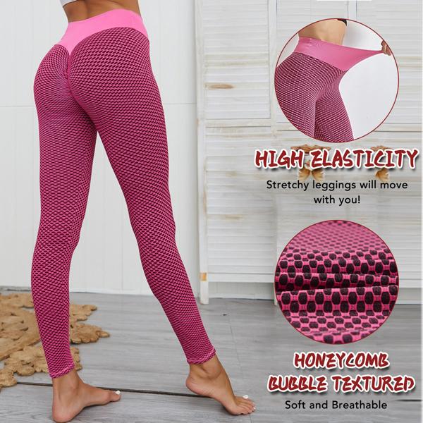 tiktok抖音女士紧身裤提臀高腰运动瑜伽裤粉色L码