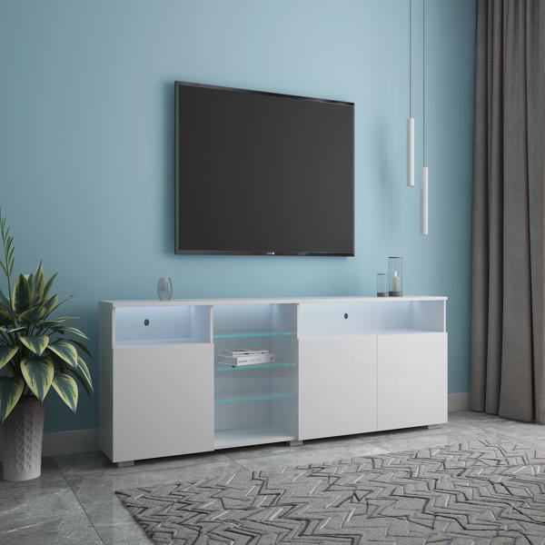 电视架高光门现代电视架 LED(白色)