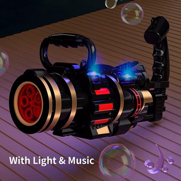 【沃尔玛禁售】加特林泡泡机 Bubble Gun for Kids, Bubble Machine for Kids, Gatling Bubble Machine with 2Pcs Solutions, Automatic Bubble Machine for Boys and Girls