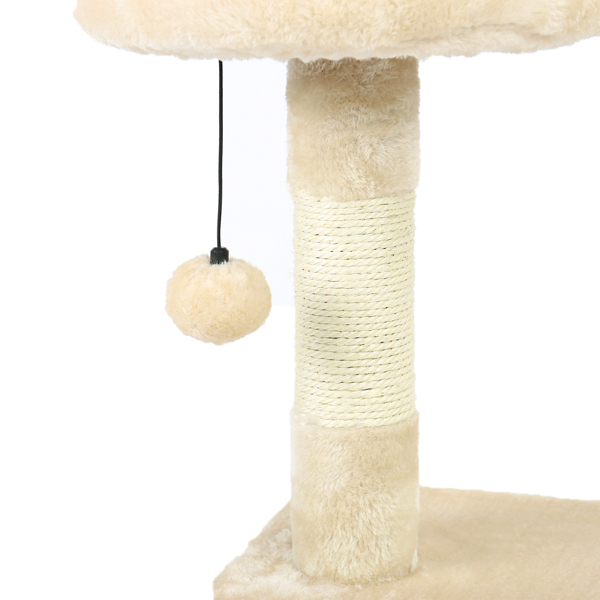 米色3层猫台带有猫窝,猫抓柱,猫互动吊球,适合小猫休息玩耍