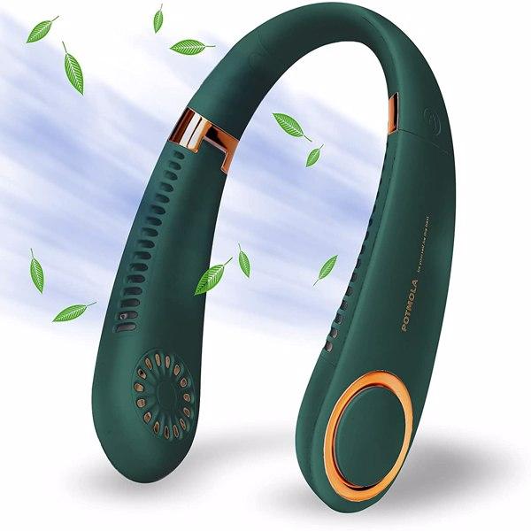 【沃尔玛禁售】挂脖扇绿色 USB Portable Hanging Neck Fan Cooling Air Cooler Little Electric Air Conditioner Bladeless Neck Fan Foldable Hands Free Personal Mini Fan Rechargeable Sports Green