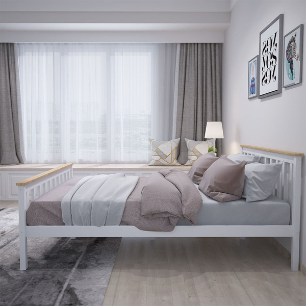 双人床白色带清漆条子