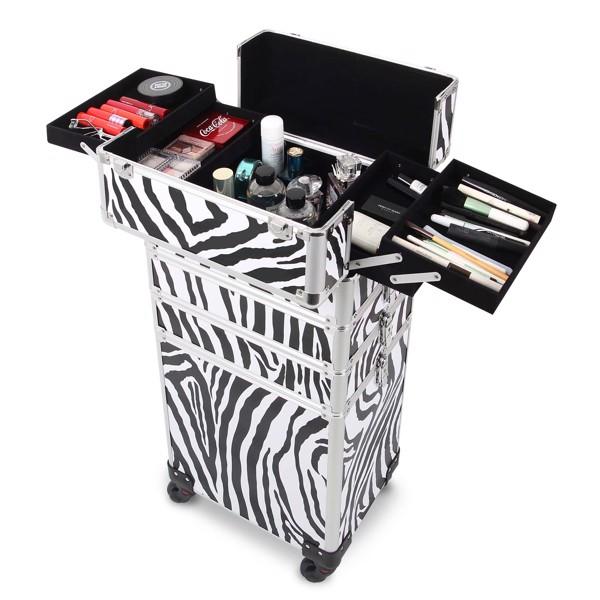四合一化妆箱 平纹 带4个轮子 铝制边框 斑马色