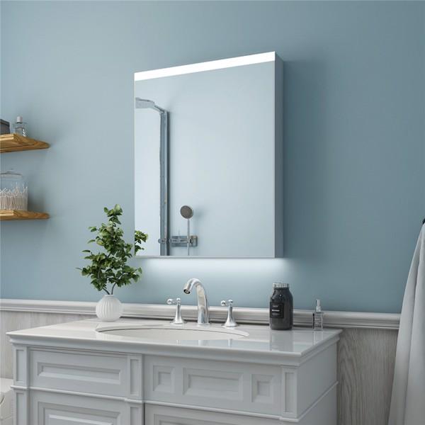 (亚马逊禁售)24英寸x 30英寸LED 照明浴室镜柜,带 3 层储物架,非接触式运动传感器,仅限表面安装(左开门)