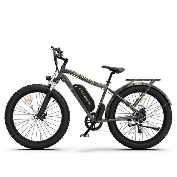 "AOSTIRMOTOR迷彩绿电动自行车26""胖轮胎750W电机48V13Ah可拆卸锂电池零售限价$1399"
