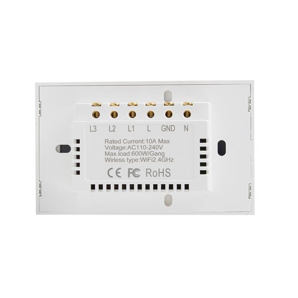 DS-121-3智能墙壁开关-竖版白色3键触屏键