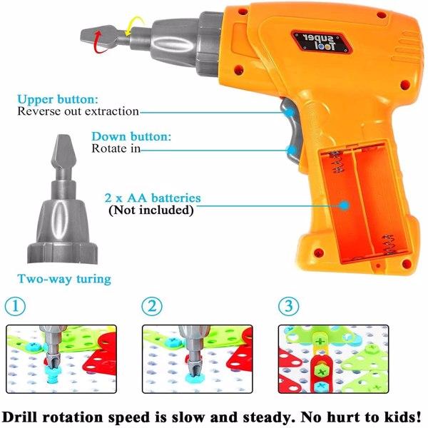 儿童电钻拼装积木拧螺丝工具箱螺母组合拆装益智拼图玩具237pcs