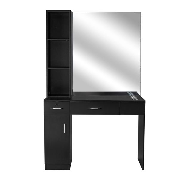 2-2 15厘E0刨花板麻面 1门2抽3层架带腿美发柜带锁带镜子 沙龙柜 N001 黑色