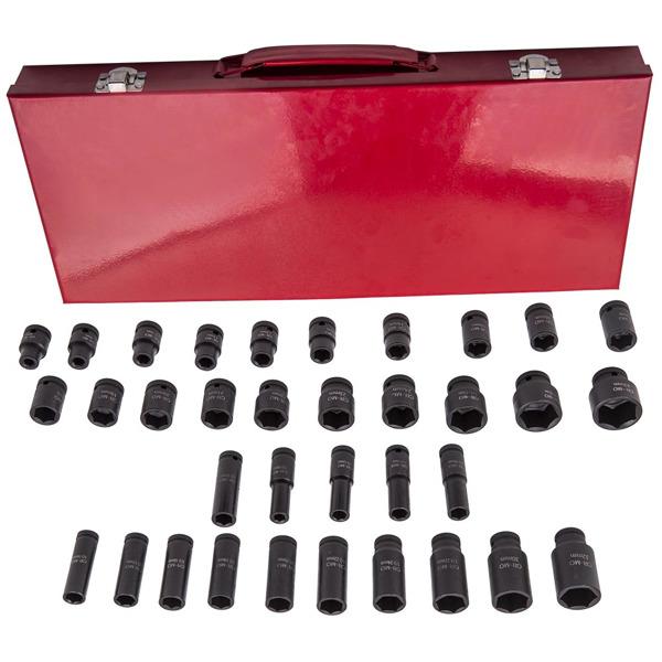 """冲击套筒工具组35pcs Deep Impact Socket Sockets Set 1/2"""" Drive 6 Point Metric Garage Tool 8mm-32mm"""