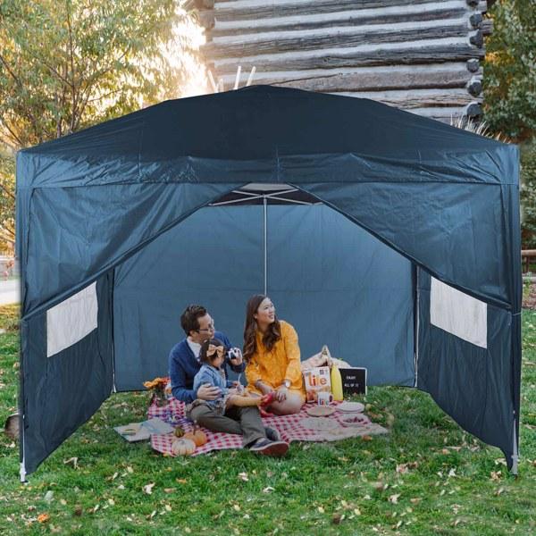 3x3M 弹出式速开凉棚 帐篷 210D 带防水涂层 带四块围布(两窗户+两门-双面拉锁)+ 收纳袋 蓝色