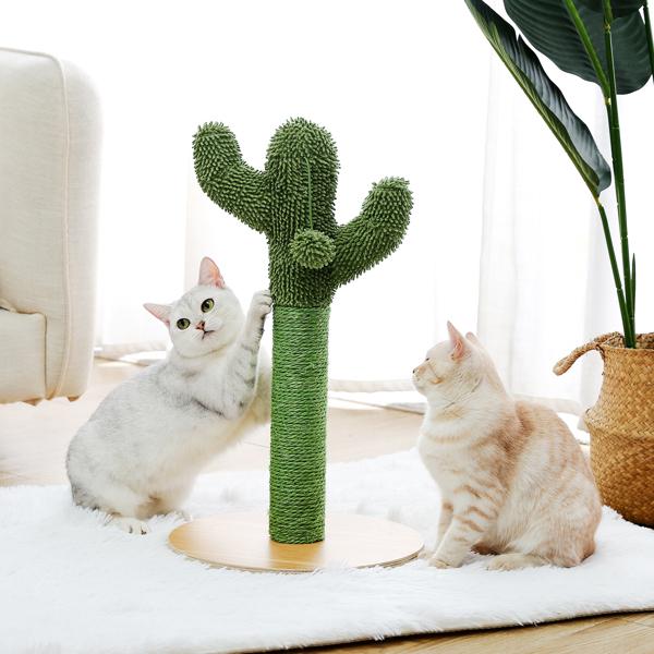 绿色仙人掌猫抓柱子带有1个猫抓柱,1个吊球,猫互动玩具适合中小型猫