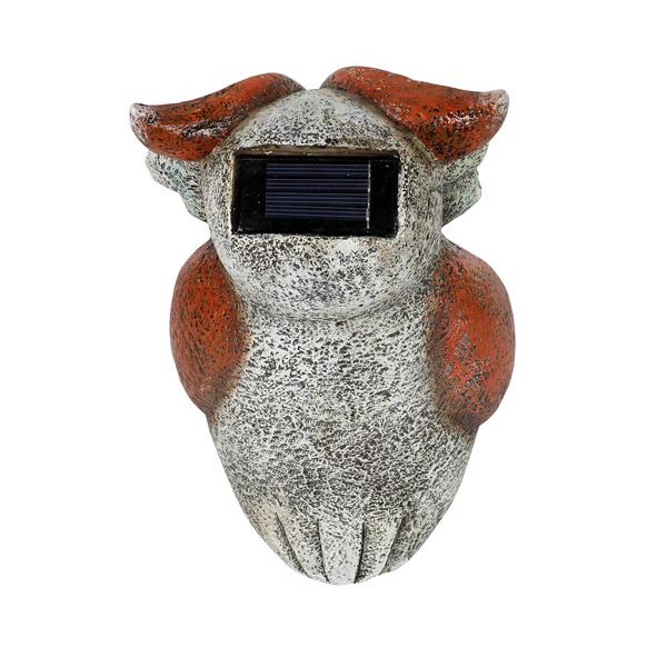 花园猫头鹰雕像,太阳能树脂动物雕塑,带 5 个 Led 灯用于露台、草坪、花园装饰